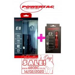 Powertac E8 Rechargeable Flashlight + E3 GenIII Keychain Flashlight!